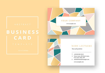 Business Card Layout Colorful Geometric Background