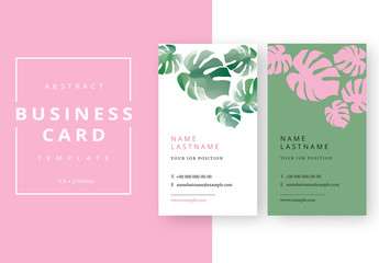 Business Card Layout with Repeating Plant Shapes