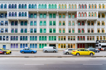 Colorful heritage building windows in Singapore. Neoclassical style building with colorful windows in Singapore.