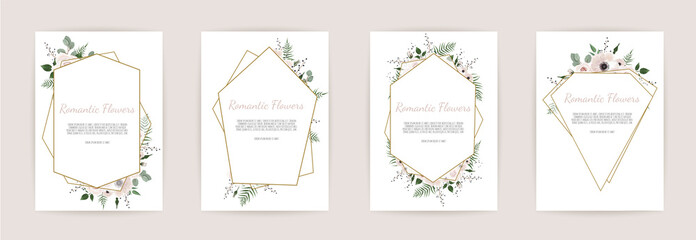 set botanic card with wild flowers, leaves. Floral poster, invite. Fototapete
