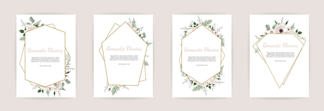 set botanic card with wild flowers, leaves. Floral poster, invite.