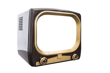 Retro 1950s television isolated on white with cut out screen and clipping path.