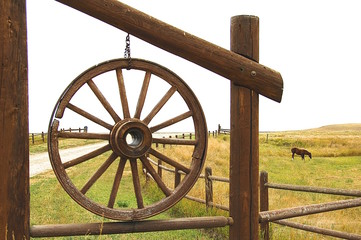 Wagon Wheel With Horse In Pasture