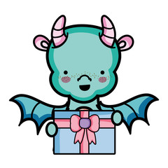 cute dragon with present gift in the hands