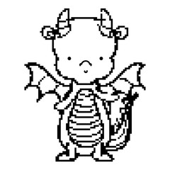 line pixel cute dragon animal with wings