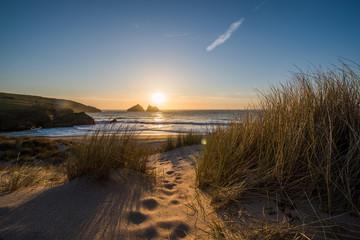 Sand dunes and beach sunset