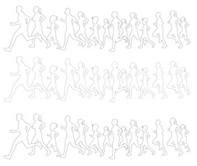 People running and jogging  outline