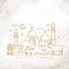Happy Eid adha mubarak greeting card template monoline illustration cow goat and camel with mosque