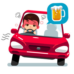 Vector drunk female character driving a car