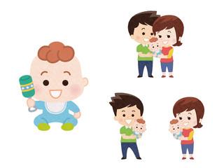 男の子の赤ちゃんとパパとママ