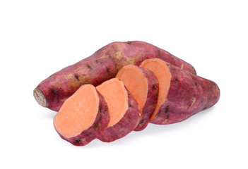 raw sweet potatoes with slice isolated on white background