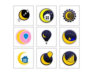 crescent moon icon vector image logo