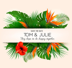 Wedding invitation desing with exotic leaves and coloful flowers. Vector