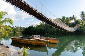 hanging bridge at loboc river , Bohol island