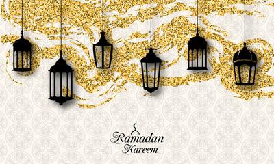 Arabic Lanterns, Fanoos for Ramadan Kareem, Islamic Glitter Card