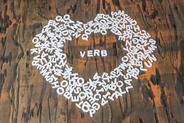 word verb inside heart