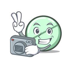 Photographer drug tablet mascot cartoon