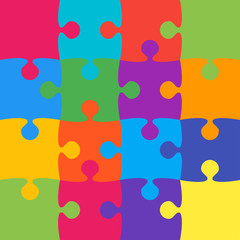 16 Colorful Background Puzzle. Jigsaw Banner.