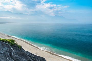 Qixingtan Beach, the Hualien City landmark in the east coast of Taiwan
