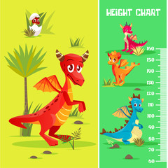 Vector height chart in prehistoric dinosaur creatures, cartoon style. Wall meter scale with cute cheerful baby monsters with wings, horns. Kids growing measumerent illustration