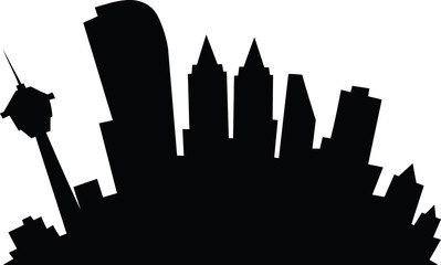Cartoon skyline silhouette of the city of Calgary, Alberta, Canada.