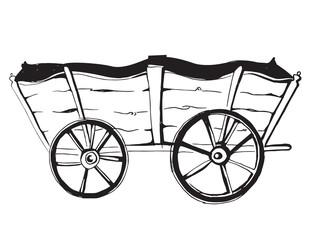 Vector illustration of an horse wagon. old vehicle. Cartoon vintage.
