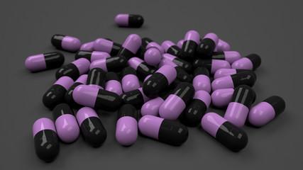 Pile of black and purple medicine capsules