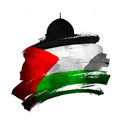 Al-Quds mosqued dome silhouette with palestine flag on ink brush shape vector illustration