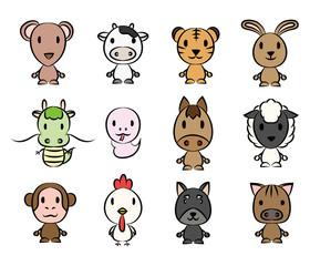 年を表す十二種類の動物
