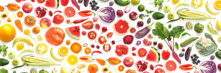 pattern of various fresh vegetables and fruits isolated on white background, top view, flat lay....