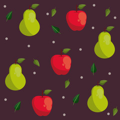 Pear and apple pattern background cartoons vector illustration graphic design