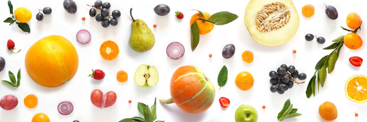 Fototapete - Various vegetables and fruits isolated on white background, top view, flat layout. Concept of healthy eating, food background.