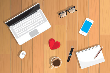 Realistic workplace organization. Top view with textured table, cat, laptop, glasses,  pencil, diary and coffee mug. Desk vector illustration