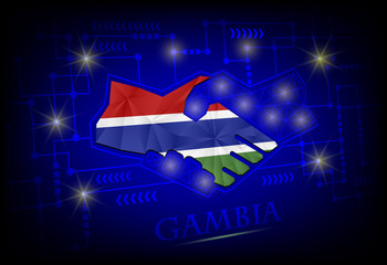 Handshake logo made from the flag of Gambia.