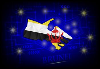 Handshake logo made from the flag of brunei .