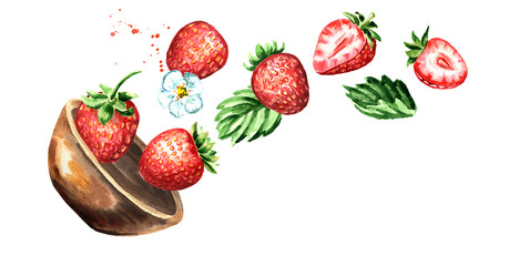 Bowl with ripe strawberry. Hand drawn horizontal watercolor illustration, isolated on white background