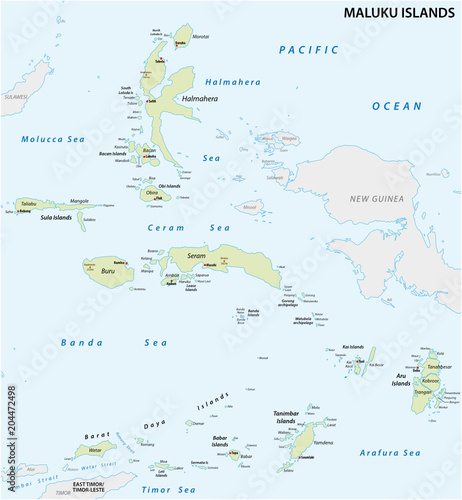 Detailed map of the Indonesian island groups of the Moluccas\