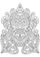hand drawn mexican sugar skull with pattern on the face as isolated vector file