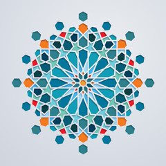 Moroccoan pattern colorful geometric arabic ornament