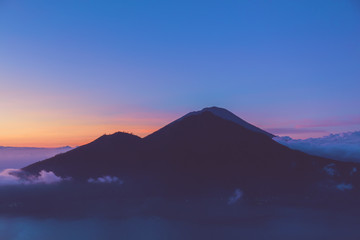 Morning view of Mount Gunung Agung volcano from Mt. Batur, Bali, Indonesia.