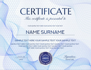 Certificate with white abstract background. Design template with blue abstract pattern (geometric triangle shapes). Background useful for Diploma, business education award