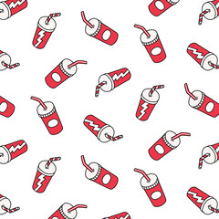 Hand drawn vector illustration of soft drink cup pattern in cartoon style.