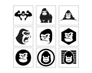 black gorilla monkey ape chimp primate image vector icon logo set
