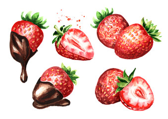 Ripe berries strawberry with chocolate set. Watercolor hand drawn illustration  isolated on white background