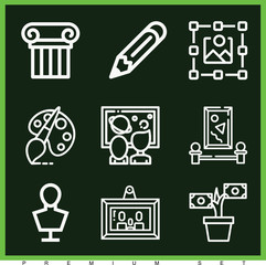 Set of 9 art outline icons
