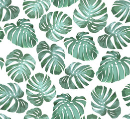 Tropical seamless pattern with green monstera leaves on white background. Tropical vector background for print or textile.