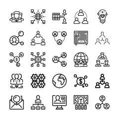 Set of 25 networking outline icons