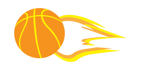 Vector Illustration of flying fiery basketball