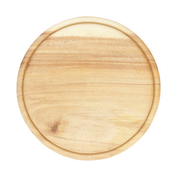 round wooden plate top view on white background