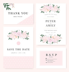Vector template set. Wedding invitation, rsvp, thank you, save the date card design with elegant rose pink garden.